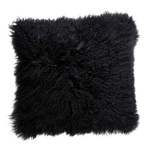 Mongolian Sheepskin Cushion - Black