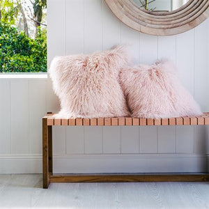 Mongolian Sheepskin Cushion - Blush