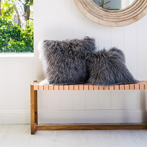 Mongolian Sheepskin Cushion - Grey