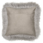 Mongolian Sheepskin Cushion - Light Grey