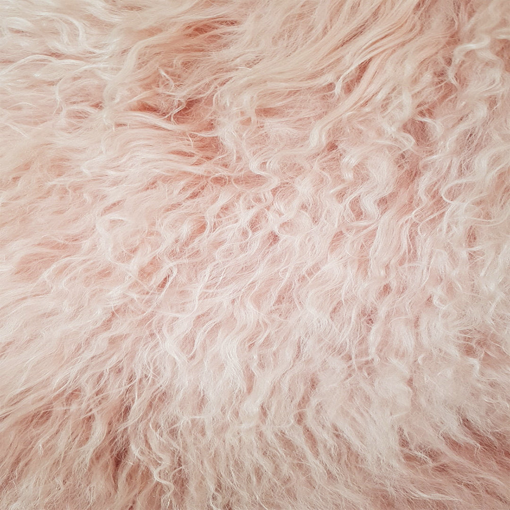 Mongolian Sheepskin Rug - Rose