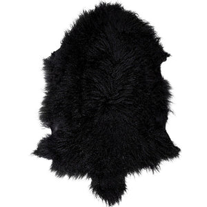 Mongolian Sheepskin Rug - Black