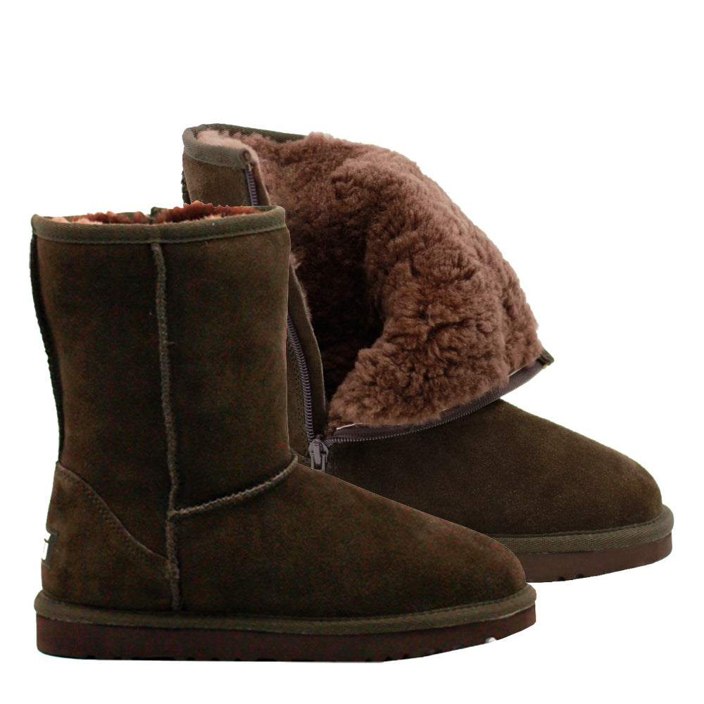 WARATAH UGG® Unisex Water Resistant Short Mid Zip Up Boot - Chocolate