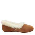 WARATAH UGG® Woman's Sheepskin Cross Stitch Slippers - Chestnut