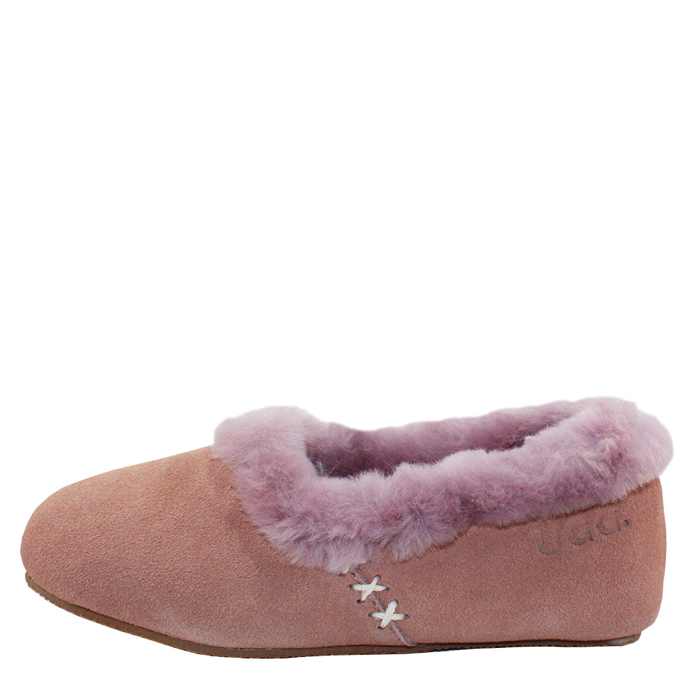 WARATAH UGG® Woman's Sheepskin Cross Stitch Slippers - Pink