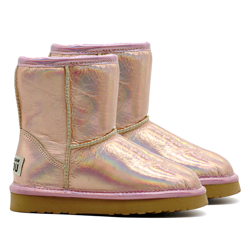 Waratah UGG® Holographic Kids Zip UGG Boots - Rose Gold