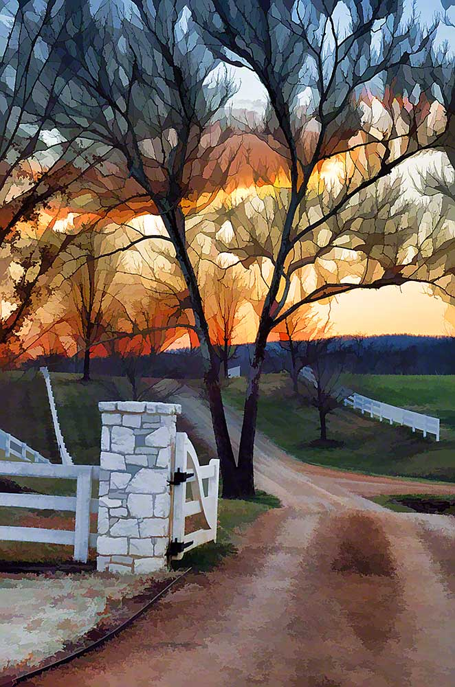 A sprawling estate with miles of white wooden fence.  A tree with its bare branches turned into stained glass by the sunset guards the entrance.  Castle Hill Sunset by Alison Thomas of Serenity Scenes Photography and Digital Art.