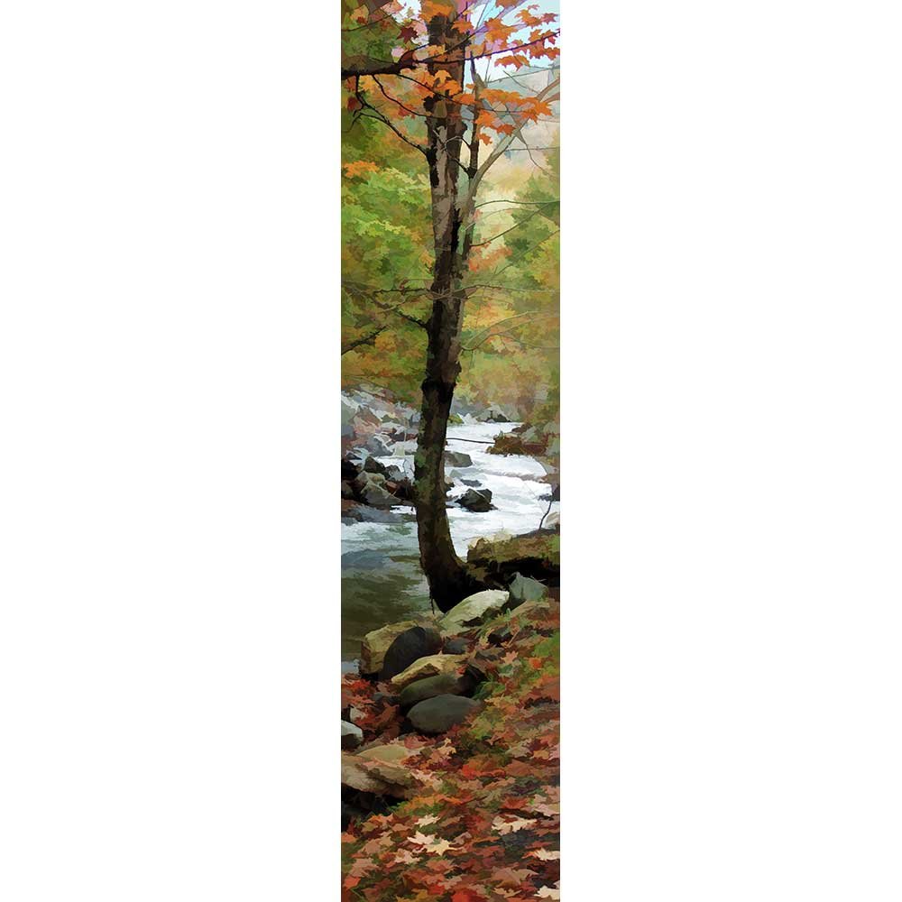 Only a few orange leaves remain on a tree at the very edge of a rocky forest stream. Rocks border the water, and a blanket of autumn leaves covers the forest floor.  Fall Stream by Alison Thomas of Serenity Scenes Photography and Digital Art.