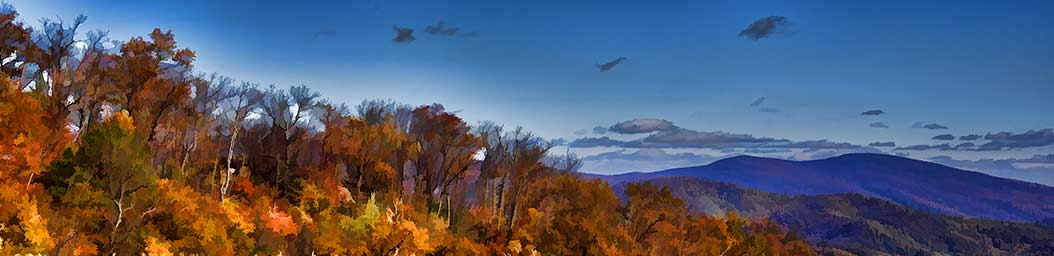A hilltop forest losing its autumn leaves stands before rolling blue mountains in the distance. The patterns of colorful autumn trees can be faintly seen on the mountainside, beneath low clouds in the bright blue sky.  Fall Vista by Alison Thomas of Serenity Scenes Photography and Digital Art.