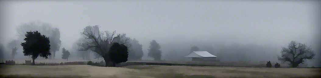 Heavy fog lays like a blanket over a farm. A few dark silhouettes of trees and one small building emerge from the mist, but the distance is nothing but white.   Foggy Day on the Farm by Alison Thomas of Serenity Scenes Photography and Digital Art.