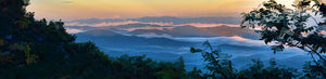 Looking down from an even higher mountaintop, a pastel sunrise unfurls over low, rolling mountains, fog nestled in the valleys between them. Green branches in the foreground frame the scene.  Foggy Sunrise by Alison Thomas of Serenity Scenes Photography and Digital Art.