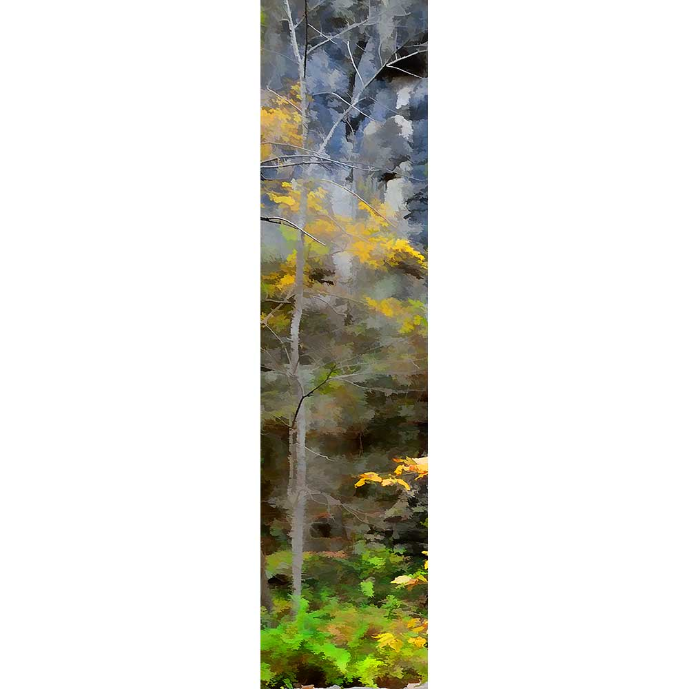 A small tree with yellow leaves growing in front of a rock face. The edges of the leaves blur like watercolors, turning them into smudges of yellow and green against the brown and gray of the rock.  Forest Rock by Alison Thomas of Serenity Scenes Photography and Digital Art.