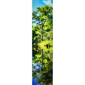 The only time I have ever gotten my husband in a canoe.  He paddled, I photographed. A green tree, the foliage around it, and the brilliant blue sky above reflected in a clear lake. The stumps off to one side look like bears... almost.   Green Reflection by Alison Thomas of Serenity Scenes Photography and Digital Art.