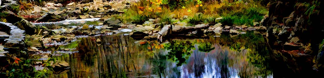 Fallen leaves and rocks surround a still pool, nestled in the bend of a small stream. It's crystal clear water reflects the autumn trees and grass of the forest, only a small ripple disturbing the picture.  Hidden Pool by Alison Thomas of Serenity Scenes Photography and Digital Art.