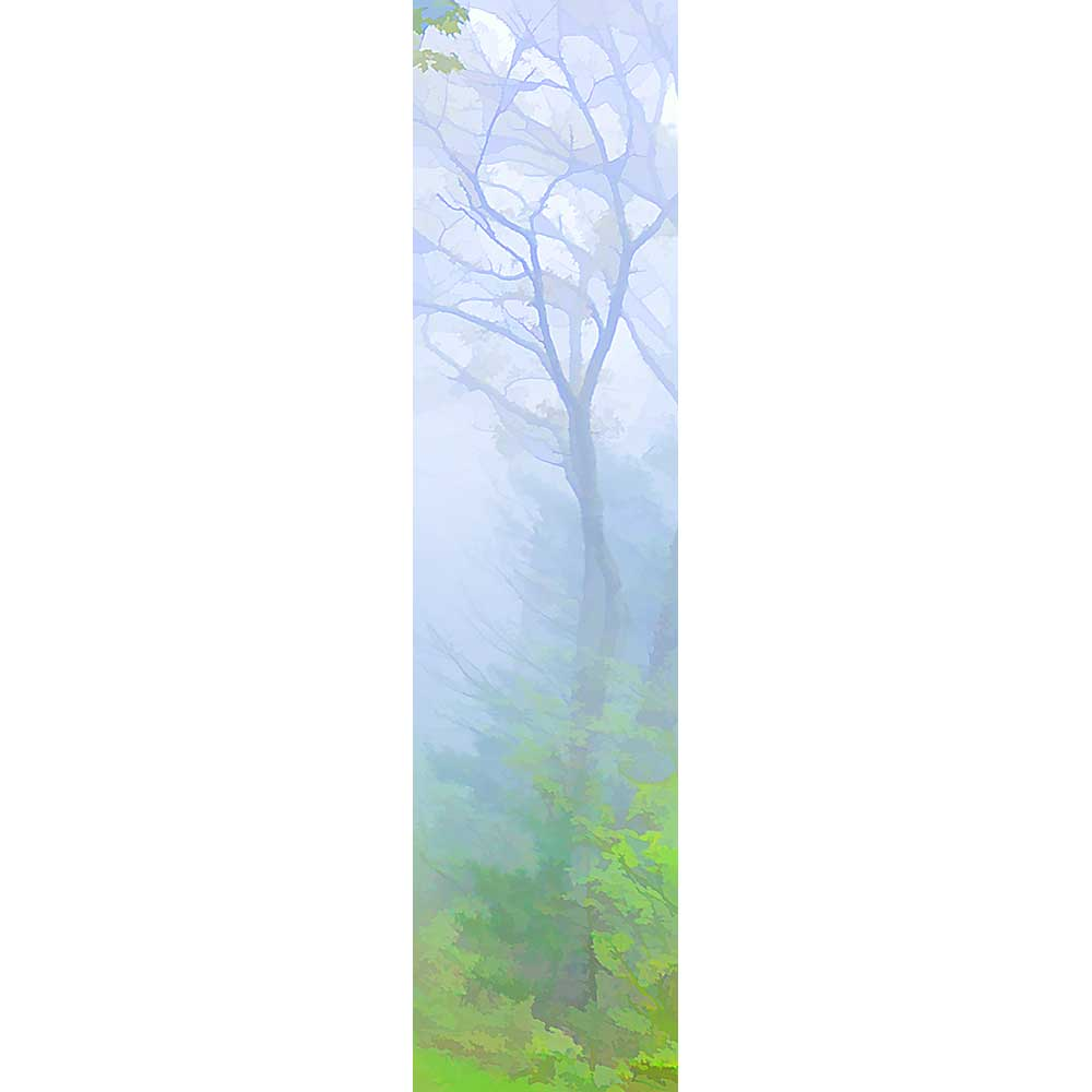 Fog cloaks the forest in purple haze, the bright green of fresh leaves the only color peeking through. The shape of a bare-branched tree is barely visible, a dark silhouette engulfed in mist.  Purple Fog by Alison Thomas of Serenity Scenes Photography and Digital Art