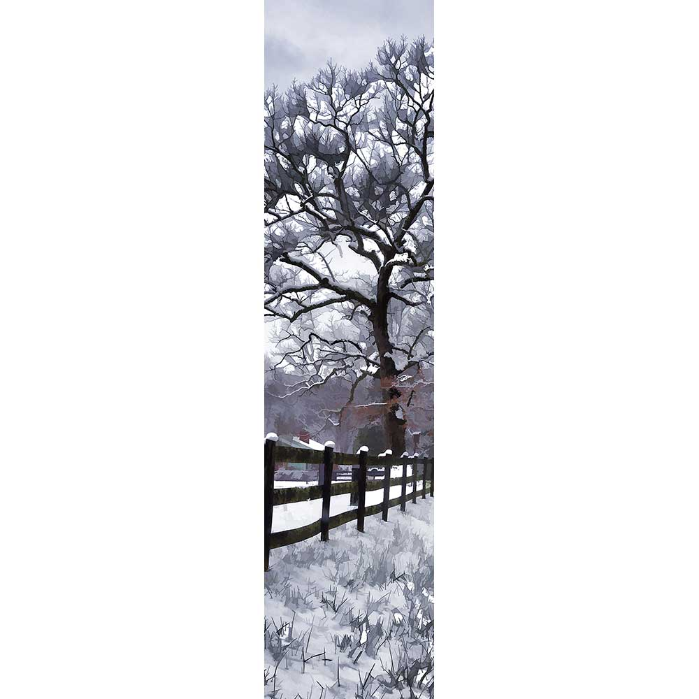 A blanket of snow covers a country field, the tops of its fenceposts, and the bare branches of a lofty tree. A small house is half hidden from view behind the fence.  Snow Day by Alison Thomas of Serenity Scenes Photography and Digital Art.