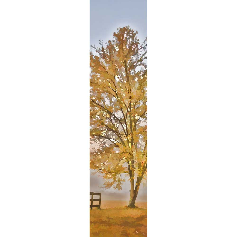 A single autumn tree stands in a field, gold leaves over gold grass. On one side the edge of a country fence peeks into view. Gray fog shrouds the landscape beyond.   Solitude by Alison Thomas of Serenity Scenes Photography and Digital Art.