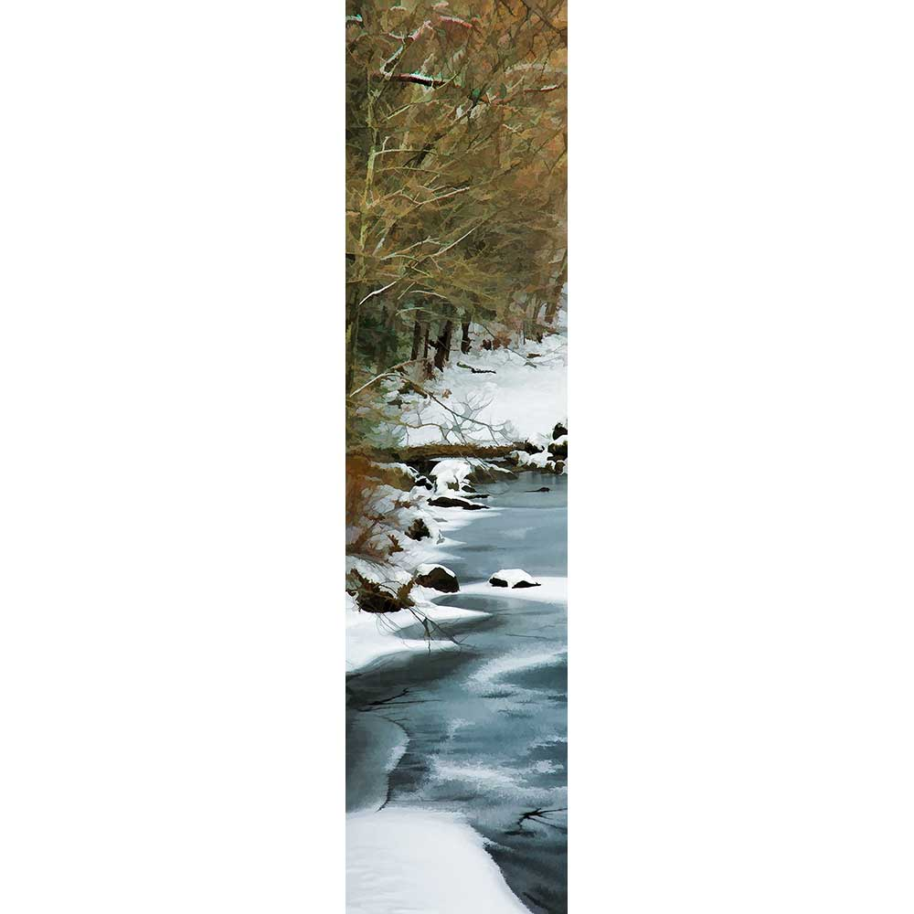 Bare trees line a winter stream, their whisper-thin branches making a web that shields the rest of the forest from view. Snow gathers on the riverbank and dusts the ice covering the water.   Winter Stream by Alison Thomas of Serenity Scenes Photography and Digital Art