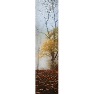 An autumn path scattered with fallen leaves leads to a tree with a dusting of yellow foliage remaining and a fenced field encased in gray mist beyond.  Yellow Fog by Alison Thomas of Serenity Scenes Photography and Digital Art