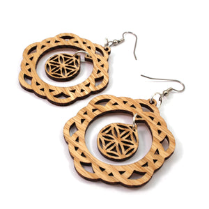 Two Part Flower of Life Sustainable Wooden Earrings - Available in 4 wood types