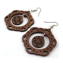 Load image into Gallery viewer, Two Part Flower of Life Sustainable Wooden Earrings - Available in 4 wood types