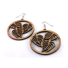 Load image into Gallery viewer, Leaf Hoop Sustainable Wooden Earrings - Available in 4 wood types