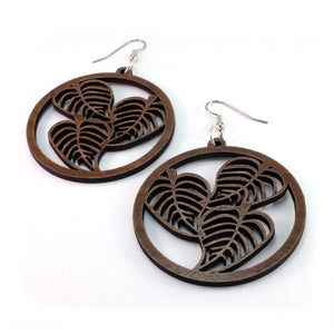 Leaf Hoop Sustainable Wooden Earrings - Available in 4 wood types