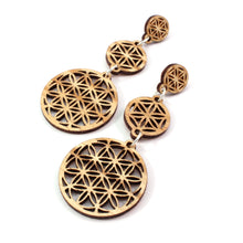 Load image into Gallery viewer, Three Part Flower of Life Sustainable Wooden Earrings - Available in 4 wood types