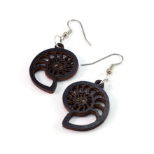 Load image into Gallery viewer, Ammonite Sustainable Wooden Earrings - Available in 3 sizes and 4 wood types