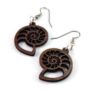 Ammonite Sustainable Wooden Earrings - Available in 3 sizes and 4 wood types