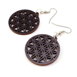 Flower of Life Sustainable Wooden Earrings - Available in 4 wood types