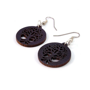 Tree of Life Sustainable Wooden Earrings - Available in 3 sizes and 4 wood types