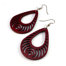 Load image into Gallery viewer, Bass Ripple Teardrop Sustainable Wooden Earrings - Available in 2 sizes and 4 wood types