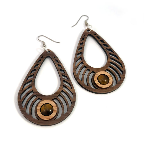 Tigers Eye Bass Ripple Teardrop Sustainable Wooden Gemstone Earrings - Available in 4 wood types