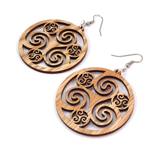Celtic Hoop Sustainable Wooden Earrings - Available in 3 sizes and 4 wood types