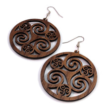 Load image into Gallery viewer, Celtic Hoop Sustainable Wooden Earrings - Available in 3 sizes and 4 wood types