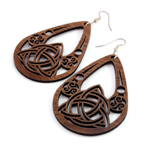 Load image into Gallery viewer, Celtic Teardrop Sustainable Wooden Earrings - Available in 2 sizes and 4 wood types