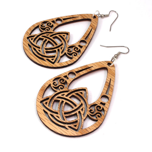 Celtic Teardrop Sustainable Wooden Earrings - Available in 2 sizes and 4 wood types