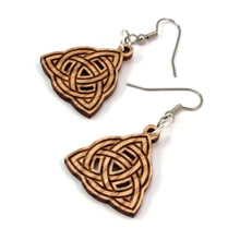 Load image into Gallery viewer, Trinity Knot Sustainable Wooden Earrings - Available in 3 sizes and 4 wood types