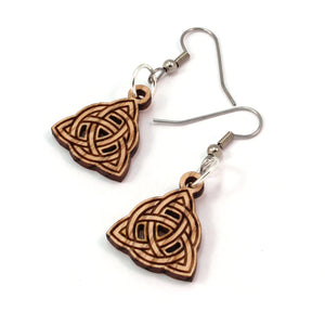 Trinity Knot Sustainable Wooden Earrings - Available in 3 sizes and 4 wood types