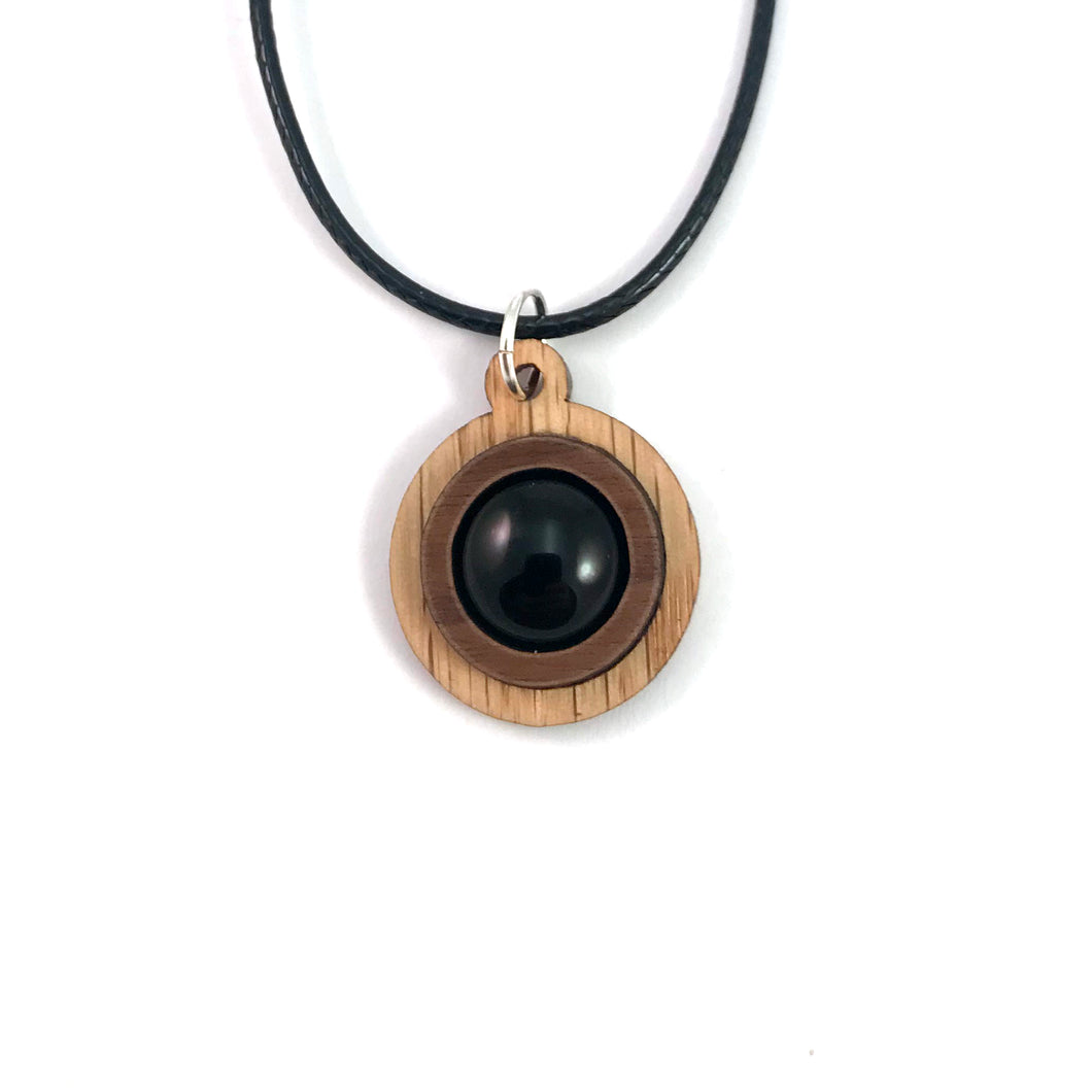 Black Onyx Simple Circle (12mm) Sustainable Wooden Gemstone Pendant - Available in 4 wood types