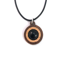 Load image into Gallery viewer, Black Onyx Simple Circle (12mm) Sustainable Wooden Gemstone Pendant - Available in 4 wood types