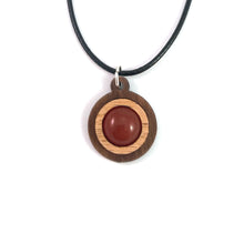 Load image into Gallery viewer, Carnelian Simple Circle (12mm) Sustainable Wooden Gemstone Pendant - Available in 4 wood types