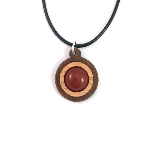 Carnelian Simple Circle (12mm) Sustainable Wooden Gemstone Pendant - Available in 4 wood types