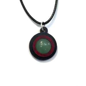 Green Aventurine Simple Circle (12mm) Sustainable Wooden Gemstone Pendant - Available in 4 wood types