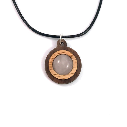 Rose Quartz Simple Circle (12mm) Sustainable Wooden Gemstone Pendant - Available in 4 wood types