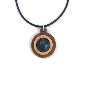 Sodalite Simple Circle (12mm) Sustainable Wooden Gemstone Pendant - Available in 4 wood types