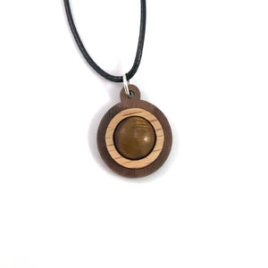 Tigers Eye Simple Circle (12mm) Sustainable Wooden Gemstone Pendant - Available in 4 wood types