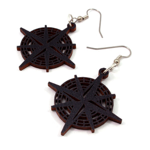 Compass Rose Sustainable Wooden Earrings - Available in 2 sizes and 4 wood types