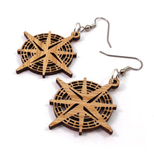 Load image into Gallery viewer, Compass Rose Sustainable Wooden Earrings - Available in 2 sizes and 4 wood types